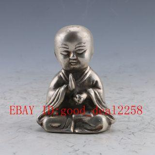 Chinese Silver Bronze Handwork Monk Prayer Statue photo