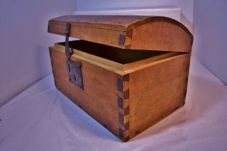 Old Dome Top Trunk Primitive Wood ' Dove - Tailed ' - Box - Great Early Americana photo