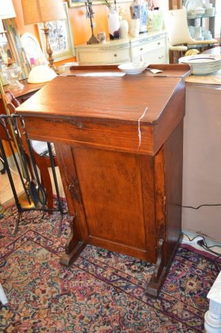 Antique Podium Pulpit Desk With Bottom Cabinet photo