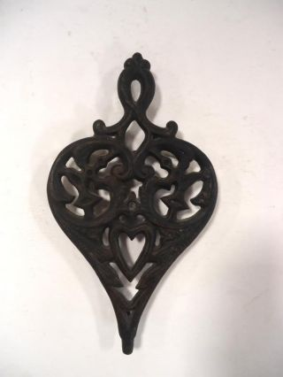 Vintage Heart Shaped Antique Cast Iron Wilton Trivet 9 1/4  X 5 1/2  (20) photo