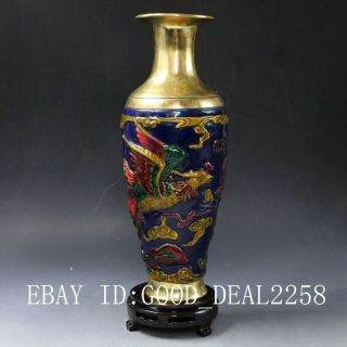 Chinese Brass Cloisonne Hand Carved Phoenix Vase W Qianlong Mark photo