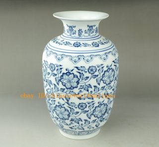 Chinese Jingdezhen The Perfect Hand Drawn Blue And White Porcelain Vase Qianlong photo