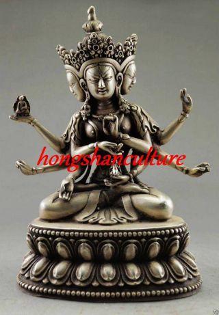 Decorated Handwork Tibet Silver Carve Buddha 3 Head 6 Arm Statue Lm1844 photo