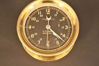 Vintage Chelsea Clock Co.  Brass Ship ' S Clock U.  S.  Navy 24hr No Glass/no Key photo