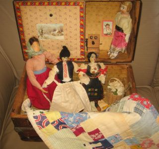 Antique Doll Quilt Doll Trunk & Doll Treasures photo