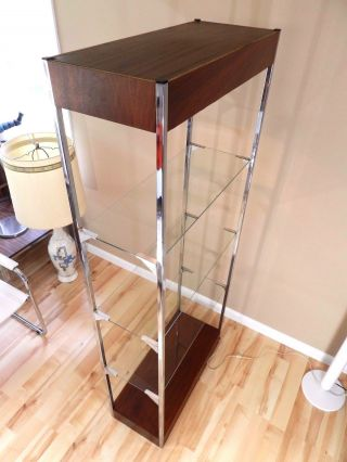 Vtg Mid Century Wall Unit Room Divider Metal Frame Walnut Glass Shelf Etagere photo