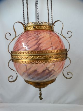 19thc Antique Victorian Pink Opalescent Old Art Glass Pull Down Hanging Oil Lamp photo