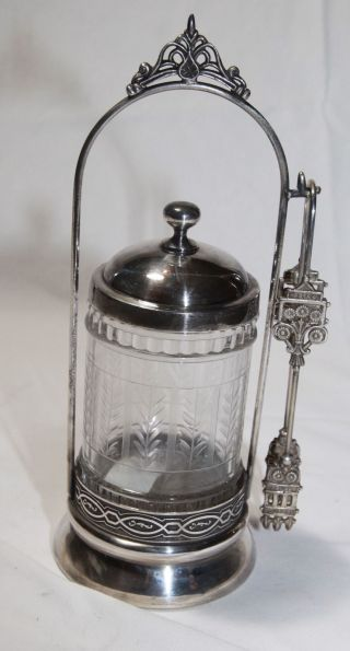 Etched Clear Glass Pickle Castor With Silver Holder photo