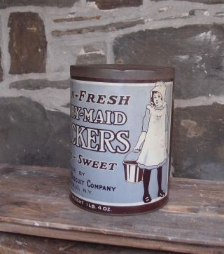 1920 ' S Dairy Maid Crackers Litho Container Advertising Old Biscuit Tin photo