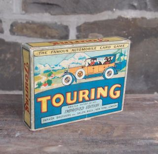 Vintage 1926 Parker Brothers Touring Automobile Card Game Graphics Old Car photo
