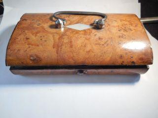Early Burl Wood Box Sewing Kit/mop/14k Thimble photo