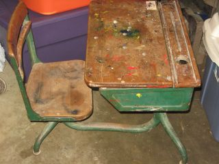 Antique Child ' S Flip Up Wooden School Desk Ink Well Attached Swivel Seat Chair photo