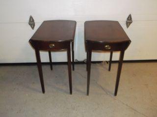 Pr.  Antique Mahogany Pembroke Table Drop Leaf End,  Side Table photo
