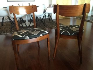2 Vtg Kipp Stewart Drexel Mid Century Danish Modern Declaration Dining Chairs photo