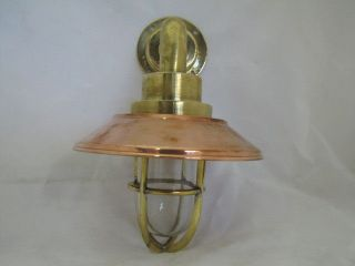 Vintage Brass Alleyway Light With Copper Shade - Restored,  Rewired & Ready To Use photo