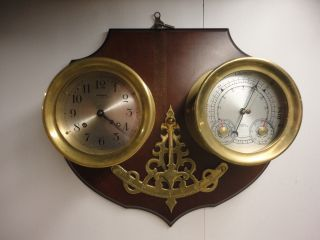 Wuersch 8 Day Ships Bell Clock And Barometer With Ships Listing Gauge.  Hermle Mt photo