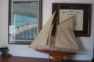 Model Sailboat; Wooden,  1895 Cup Racrt Type photo