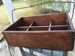 Antique Vintage Barnwood Tool Box Chest Carrier Primitive Farm Dovetail Usa photo