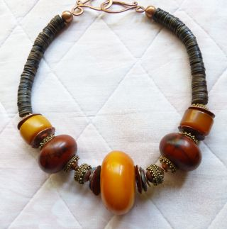 Extraordinary African Necklace - Antique African Amber (phenolic Resin) Ooak photo