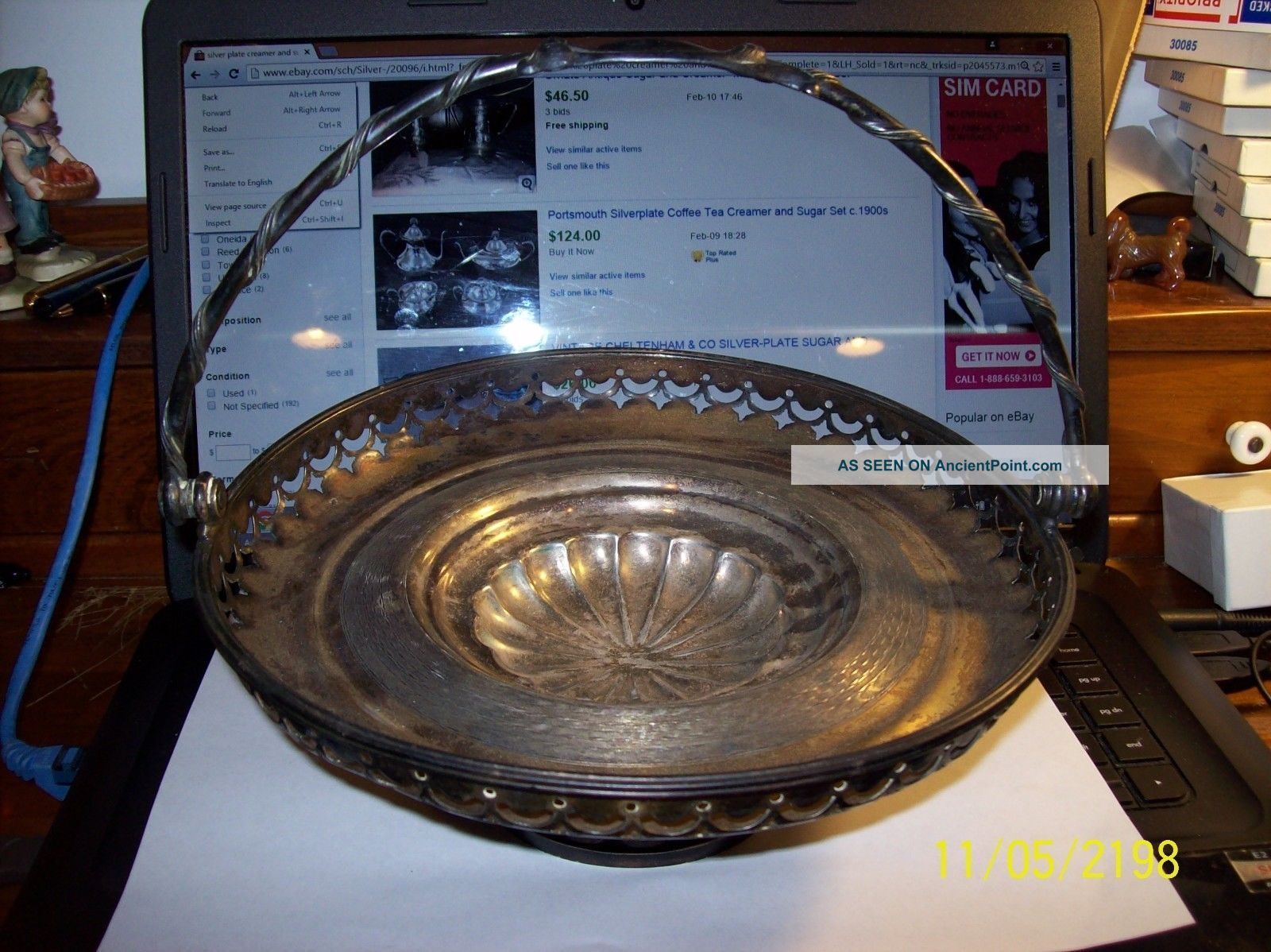 Antique Ornate Footed Silver Plate Bridal Basket W/ Handle 9