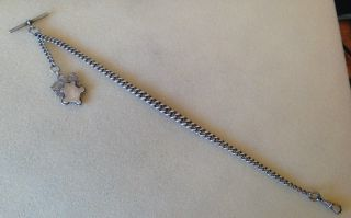 Solid Silver Watch Albert Chain 1894 And Silver Fob photo