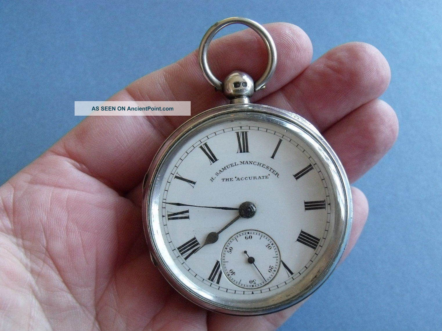 Silver Pocket Watch ' The Accurate,  H Samuel,  Manchester ' 1900 Spares Pocket Watches/ Chains/ Fobs photo