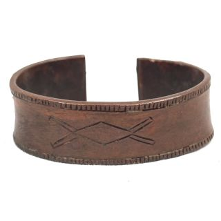 Vintage Antique Bracelet West African Trade Currency Etched Copper Slave Cuff photo
