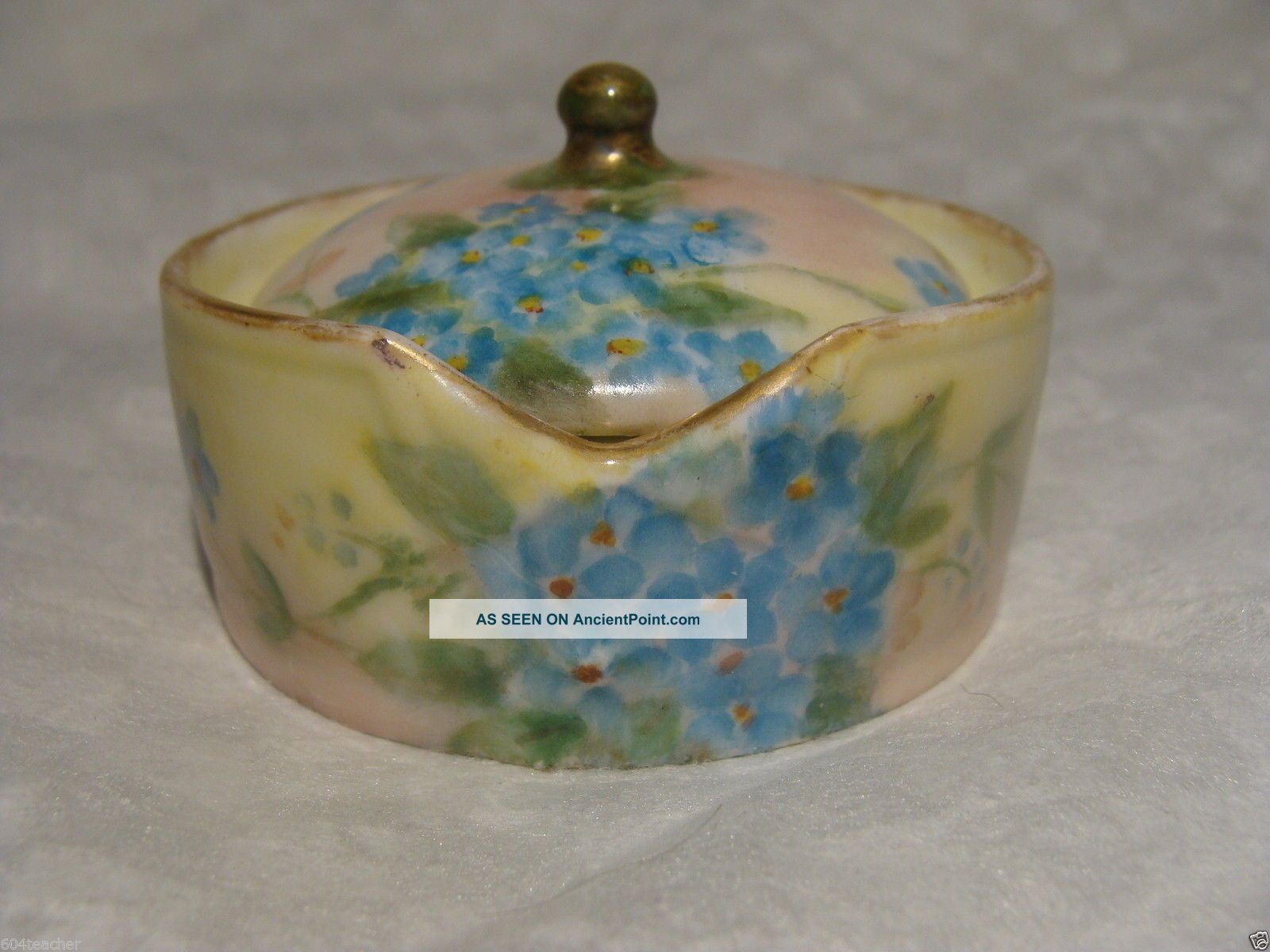Antique Rosenthal Germany Hand Painted Porcelain Stud Collar Button Box German Baskets & Boxes photo