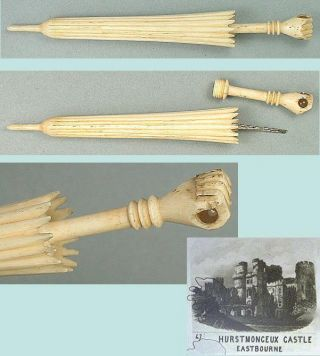 Antique Bone Parasol Needle Case W/ Stanhope Of Hurstmonceux Castle Circa 1890 photo