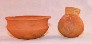 Pre - Columbian Clay Bowl And Seed Pot photo