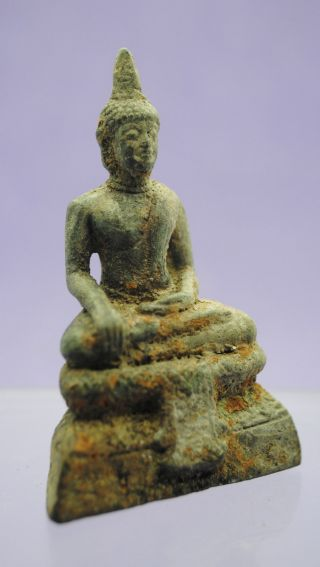 Post Medieval Bronze Thai Buddha Figurine 18th - 19th Century photo