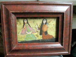 Antique Retablo/exvoto On Tin Woman And Child Praying To Our Lady photo
