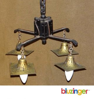 Antique Arts & Crafts Iron,  Hammered Brass 4 - Light Light Fixture Chandelier photo