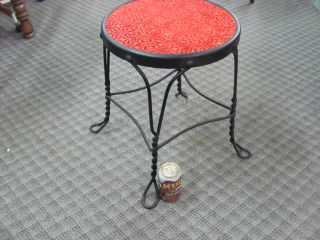 Antique Ice Cream Parlor Stool Wrought Iron Twisted Metal Legs Chair photo