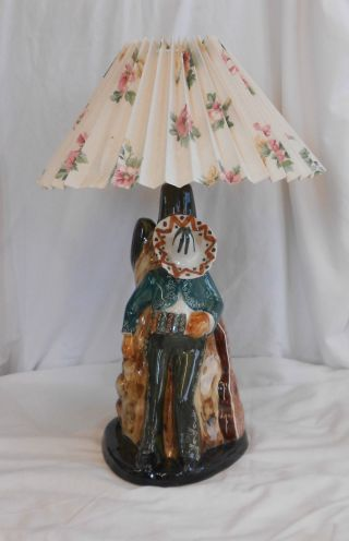 Stunning Vintage Collectable Rare Unusual Mexican Gaucho Ceramic Table Lamp photo