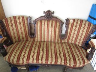 Antique Carved Walnut Victorian Sofa photo