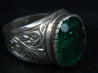 Ancient Silver Ring With Stone 1900 Ad Az01 photo
