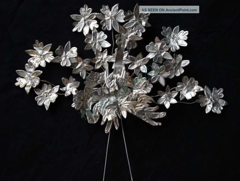 100 Handmade Miao Silver Big Flower Bird Hairpin Headdress 2014 - - 99 Reproductions photo