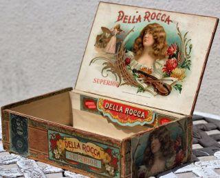 Vintage Antique Old Della Rocca Cigar Box 1901 photo