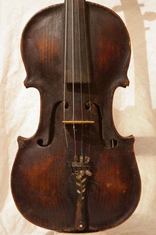 Interesting Antique Violin,  ' Brescian ' Scroll photo