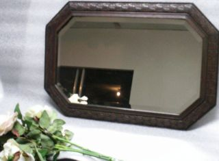 Antique Jacobean Beveled Edge Mirror Leaf Patterned Oak Frame 26 X 17 Octagon photo