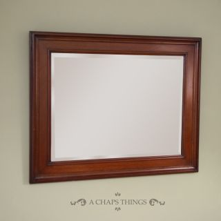 Antique Wall Mirror,  Edwardian English Oak,  Bevelled Edge,  Hanging Chain,  C.  1910 photo