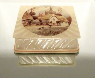 Antique Hall Staffordshire Dresser Box With Village Scene photo