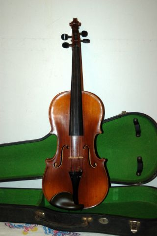 Fine German Handmade 4/4 Violin - About 80 Years Old - No Label - With Old Case photo