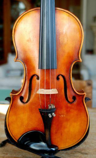 Fine Handmade German 4/4 Fullsize Violin With Good Case - From Around 1950 photo