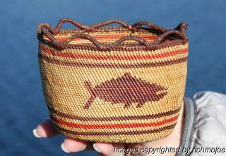 Fine Rare Old Northwest Coast Makah Nuu - Chah - Nulth Basket C1900 photo
