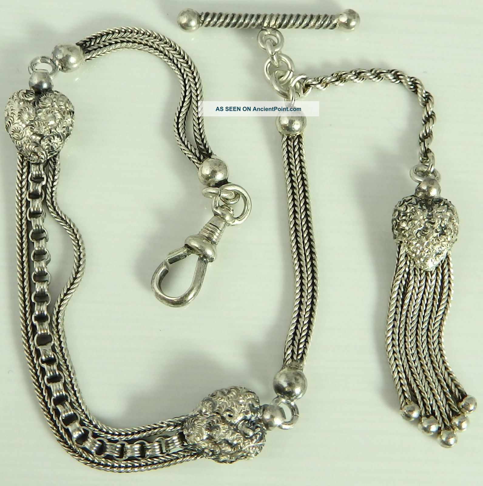 Antique White Metal Albertina Ladies Tassel Fob 8 Inch Watch Guard Chain Pocket Watches/ Chains/ Fobs photo