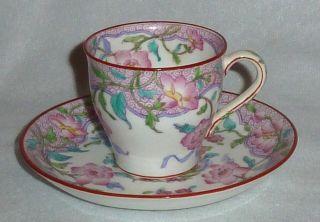 Minton Demitasse Floral Cup & Saucer,  Rare Pattern photo