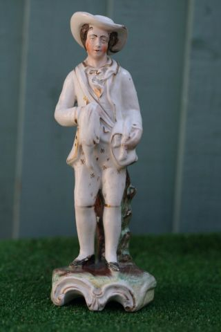 Mid 19thc Staffordshire Male Hunter Figure With Game & Shoulder Bag C1860 photo