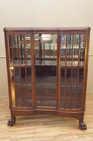 Victorian Beveled Glass Curio Display China Cabinet Claw Feet Mahogany photo